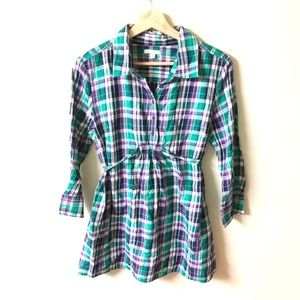 GAP maternity fitted boyfriend plaid shirt